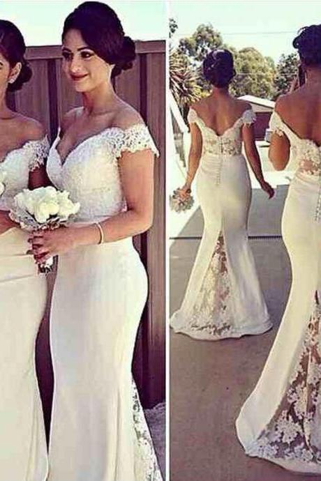 Lace Satin Mermaid White Long Prom Dresses,Evening Dress
