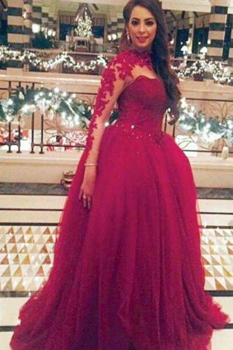 Fashion Burgandy High Collar Appliqued Long Sleeve Prom Dresses,Evening Dress