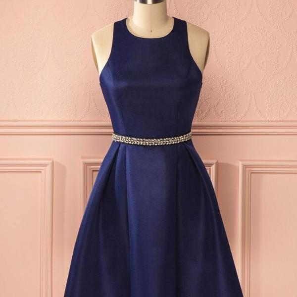 Navy Blue Homecoming Dress, Beadings Stapless Sexy Homecoming Dresses