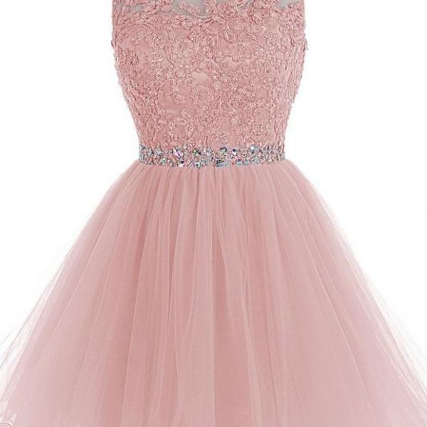 Pink Chiffon Homecoming Dress, Appliques Beadings Homecoming Dress