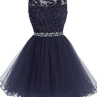 Blue Chiffon Homecoming Dress, Appliques Beadings Homecoming Dress