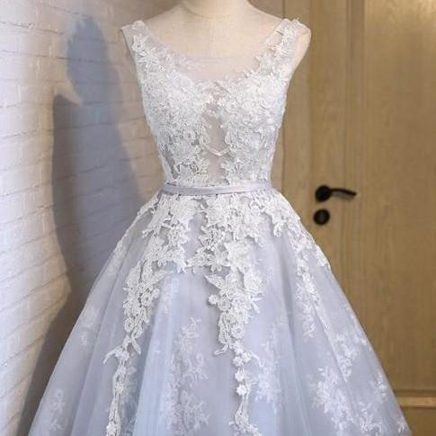 Cute Appliques Tulle Homecoming Dresses, Lace Up Dress