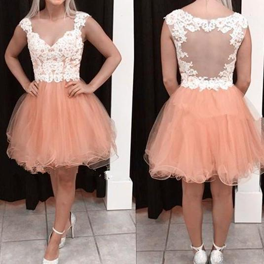 Cute V-neck Lace Homecoming Dresses, Short Prom Dress