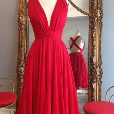 Simple Dress Handmade Short Red Chiffon Backless Cross Homecoming Dresses