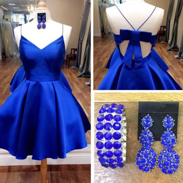 Cute Royal Blue Homecoming Dress, Bow Back Short Prom Dresses