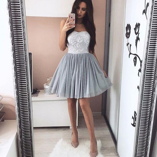 Gray Tulle Homecoming Dress with Lace Applliques, Short Homecoming Dresses