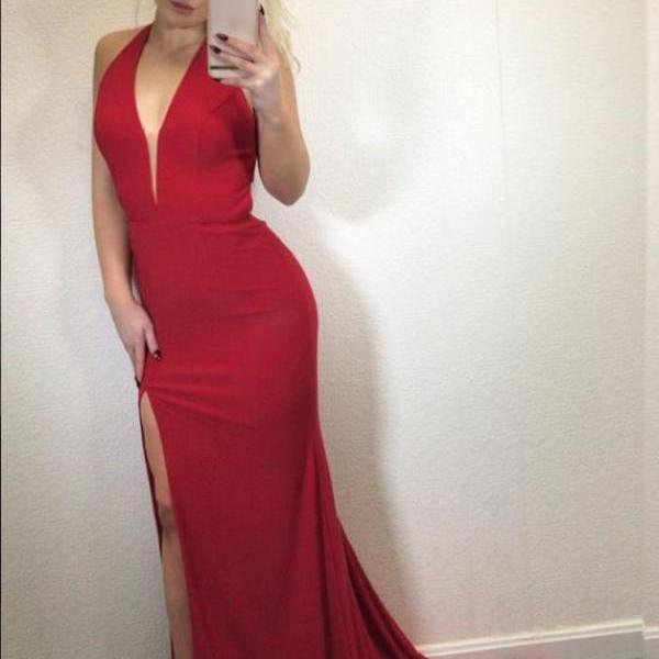 Red Jersey Prom Dresses V Neckline Slit Evening Dresses