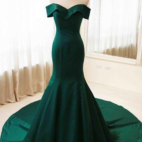 Formal off shoulder dark green mermaid prom dress evening dresses