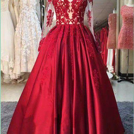 Strapless Long Sleeve Red Stain Prom Dresses Appliques Evening Dresses