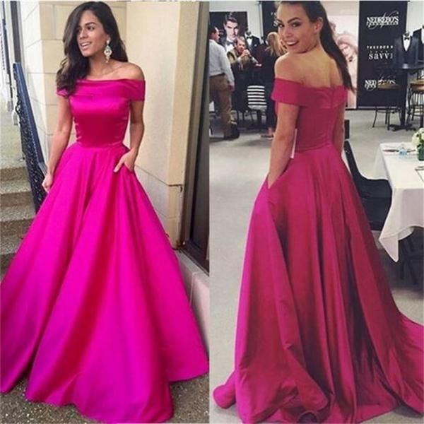 A Line Off Shoulder Simple Prom Dresses Evening Dresses