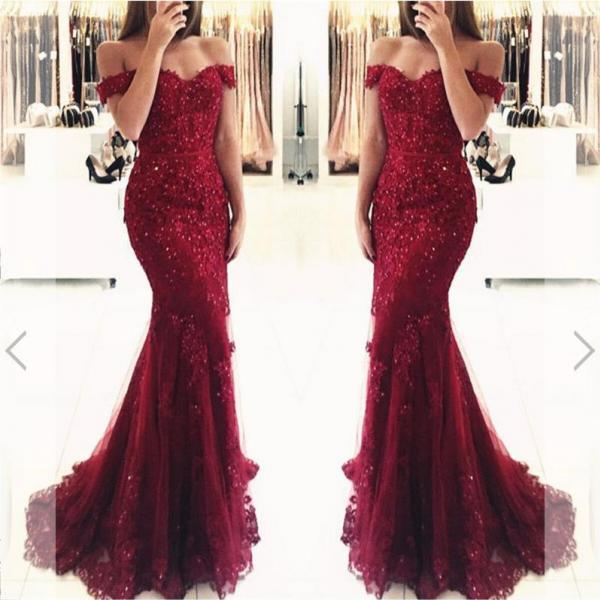 Off Shoulder Mermaid Red Lace Prom Dresses Beaded Evening Dresses