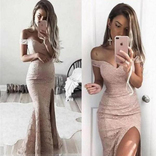 Off Shoulder Long Prom Dresses Lace Mermaid Sexy Evening Dresses