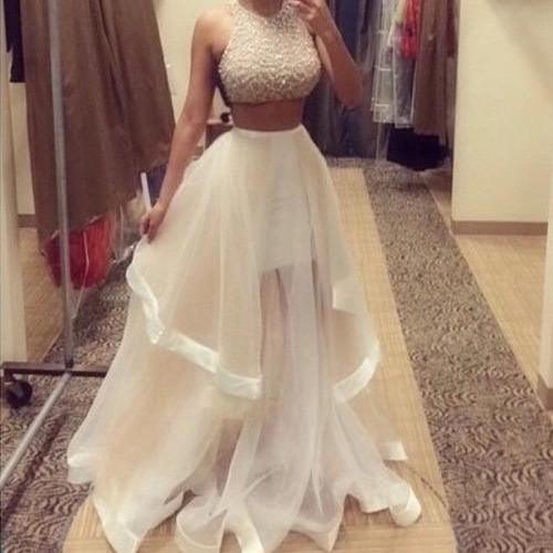 Custom Made Two Pieces Prom Dresses 2015, Party Dresses 2015, Formal Dresses 2015, Evening Dresses, Homecoming Dress, Wedding Dress New