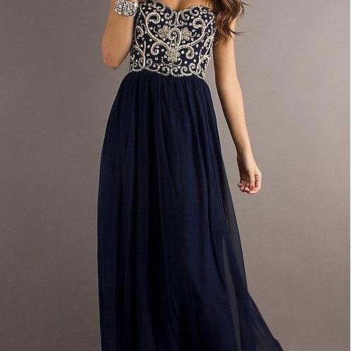 Custom Made A line Navy Blue Sweetheart Chiffon Floor Length Long Prom Dress, Long Evening Dresses, Formal Dresses, Homecoming Dresses
