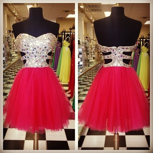 Custom Made Charming Homecoming Dress, Red Sequined Homecoming Dress,Short Homecoming Dress, Short Prom Dress