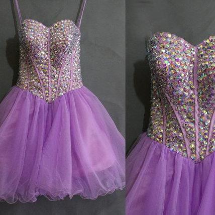 Purple Strapless Sweetheart Beaded Short Homecoming Dress, Prom Dress, Party Dress