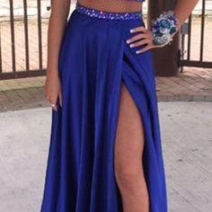 Two Piece Royal Blue High Neck Prom Dress