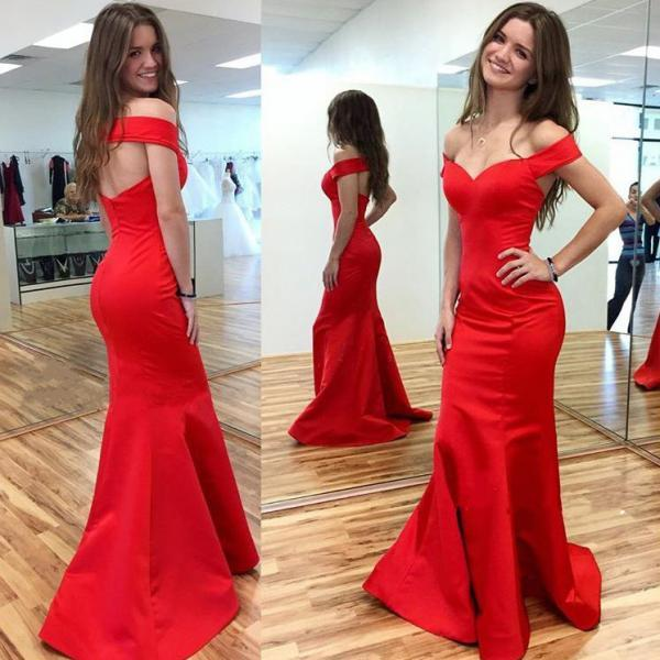Off Shoulder Prom Dress,Red Mermaid Prom Dresses