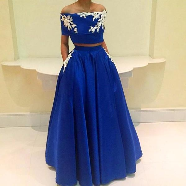 Off Shoulder Prom Dress,Two Piece Prom Dresses,Evening Dress