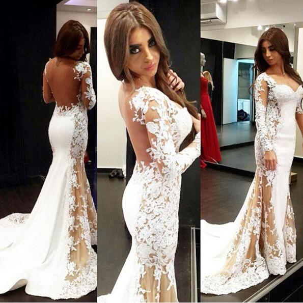 White Lace Prom Dress,Floor Length Prom Dresses,Evening Dress