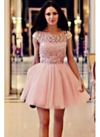 Lovely Homecoming Dress Crystals Short Cap Sleeve
