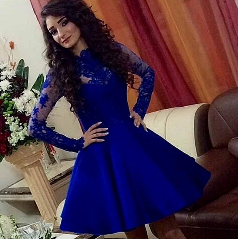 Long Sleeve Prom Dress,Short Blue Prom Dresses,Evening Dress on Luulla
